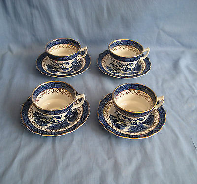 Booths REAL OLD WILLOW CUP AND SAUCER x 4 - GOOD COND