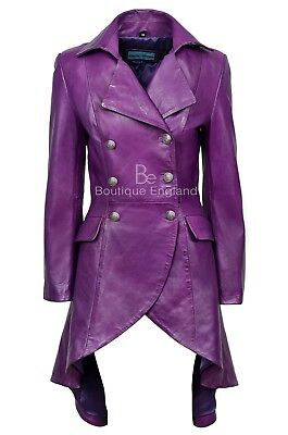 EDWARDIAN Ladies Leather Jacket Purple Back Laced Victorian Gothic Coat 3492