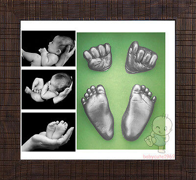 Baby Keepsake DIY 3D Casting Kit & Shadowbox photo frame  #4T3Y
