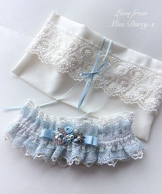 Bridal Garter and  Bag Blue Ivory Miss Darcy Personalised Wedding Brides Hen
