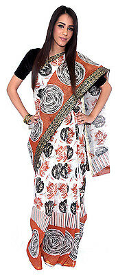 Light Maroon and White Leaf Pattern Tangail Saree (TG4072)