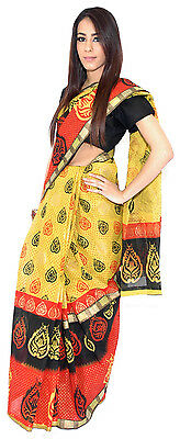 Sunshine Yellow and Orange Leaf Pattern Tangail Saree (TG4077)