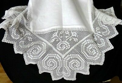 "VICTORIAN Crochet LACE Floral DAMASK Linen TABLECLOTH English 54"" - ORNATE FINE!"