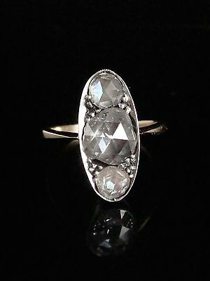 Edwardian 18Ct White Gold And Platinum Rose Cut Diamond 1.70Ct 3 Stone Ring