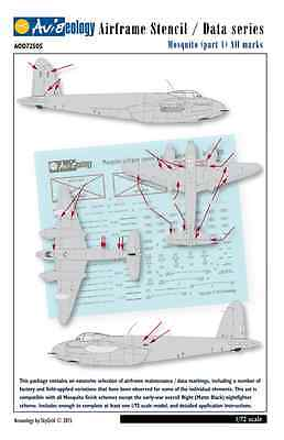 Mosquito - Airframe Stencil Data Markings - 1/72 scale Aviaeology Decals