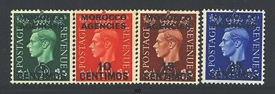 MOROCCO AGENCIES 83-86 SG165-68 MH 1937-40 KGVI short set of 4 to 25c Cat$6