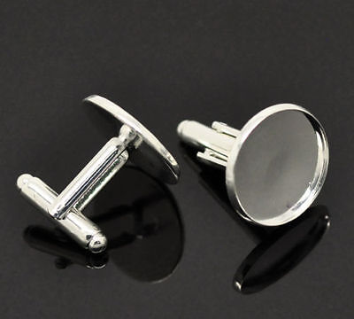 * Pack Of 10 Silver Plated Metal Alloy Cufflink Blanks (For A 20Mm Cabochon)