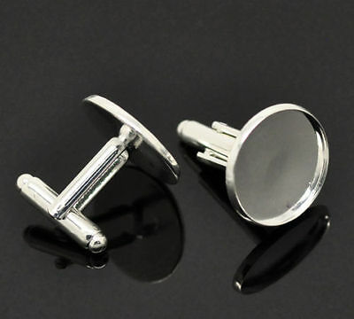 * Single Pair Of Silver Plated Metal Alloy Cufflink Blanks (For 18Mm Cabochon)