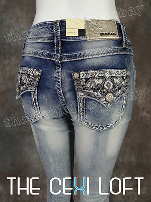 908a9d27 Womens GRACE IN LA Bootcut Jeans Silver Sequin Cloud and Embroidered Pockets !
