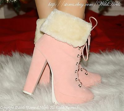 Pink / Nude Fold Over Fur Collar Platform Chunky Heel Ankle Booties, US 6-11
