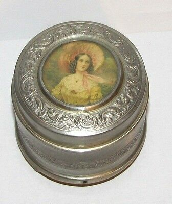 Vintage Music Box Metal Victorian Lady Picture Pink Bonnet  Women Made in France