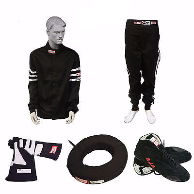Racerdirect.net Race Suit Bundle Rjs Suit Gloves Shoes Collar Black