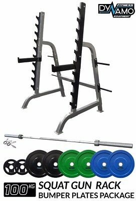 Home Gym Package Squat Gun Rack Olympic Bar 100kg Coloured Bumper Weight Plates