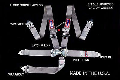 Rjs Racing Sfi 16.1 Latch & Link 5 Pt Harness Floor Mount Gray Sternum