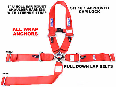 Rjs Sfi 16.1 5Pt Cam Lock U Wrap Roll Bar Mount Belt Sternum Strap Red