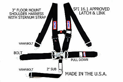 Rjs Sfi 16.1 Latch & Link 5 Pt Floor Mount Harness Sternum Strap Black