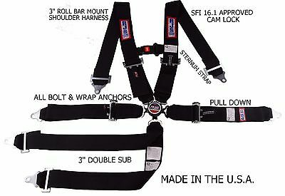 Rjs Racing Sfi 16.1 6 Point Cam Lock Roll Bar Chest Strap Seat Belt Black