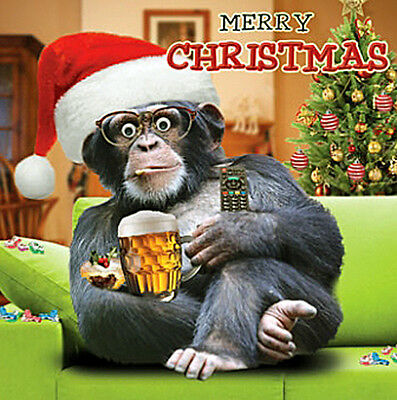 Ape & Santa Hat, Pint Glass Christmas Card 3D Goggly Moving Eyes Funny Xmas Card