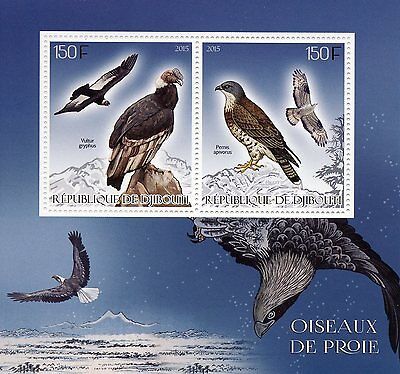 Djibouti 2015 MNH Birds of Prey 2v S/S Condors Vultures Honey Buzzards Stamps