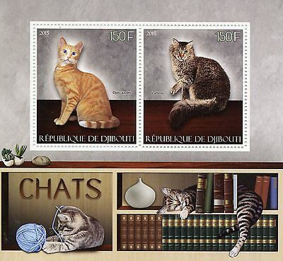 Djibouti 2015 MNH Cats 2v S/S Pets Ojos Azules LaPerm Cat Stamps