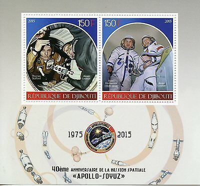Djibouti 2015 MNH Apollo Soyuz Space Mission 40th Anniv 2v M/S Leonov Stamps