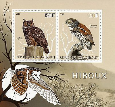 Djibouti 2015 MNH Owls 2v S/S Great Horned Owl Owlet Birds Stamps