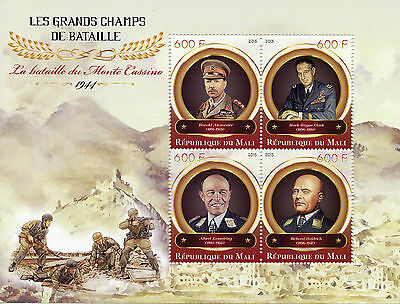 Mali 2015 MNH WWII WW2 Great Battlefields Battle of Monte Cassino 4v M/S Stamps