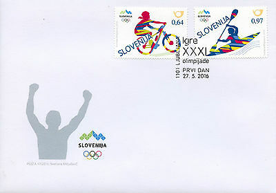 Slovenia 2016 FDC Summer Olympic Games Rio 2016 2v Cover Cycling Olympics Stamps