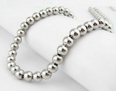 """Men's 8mm Solid 316L Stainless Steel Round Bead Chain Necklace 22-28"""""""
