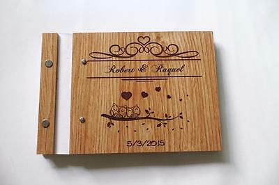 love birds wedding wooden guest book sign book unique rustic decor engagement a5