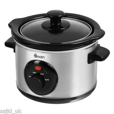 Swan SF17010N Stainless Steel Slow Cooker - 1.5L Litre - 120W - FREE P&P