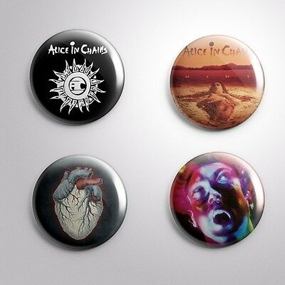 """4 ALICE IN CHAINS -  Pinbacks Badges Buttons 1"""" 25mm"""
