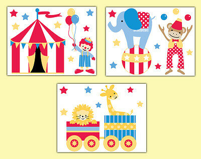 Circus Animal Prints Nursery Wall Art Safari Jungle Decor Baby Boy Neutral Gift