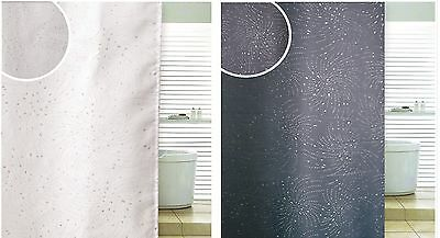 Diamante Spiral Glitter Detail Bathroom Shower Curtain With Hooks & Extra Length