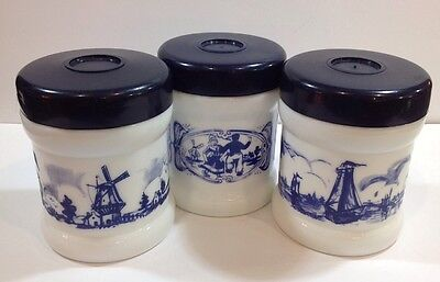 3 Vintage Blue And White Cigar Humidor Canisters W/Lids Ships/Windmills/ Dancers