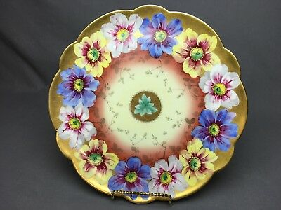"""Limoges France handpainted yellow white blue flowers 11&5/8"""" plate gold"""