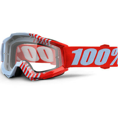 100% Percent Mx NEW Accuri Cup Coy Red Dirt Bike Clear Lens Motocross Goggles