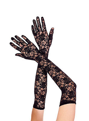 Black Stretch Floral Lace Extra Long Opera Gloves Sexy Designer Lingerie P464