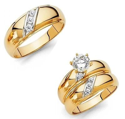 14k Solid Two Tone Gold Trio Wedding Band Bridal Solitaire Engagement Ring