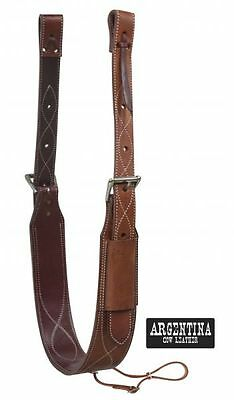 "Showman 3"" Wide Argentina Cow Leather Western Saddle Back Cinch Roller Buckles"
