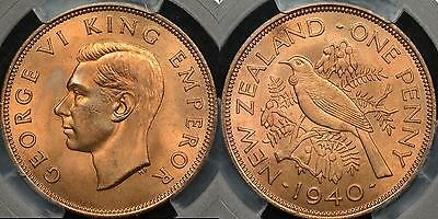 New Zealand 1940 Penny 1d PCGS MS65RD Gem Uncirculated Red
