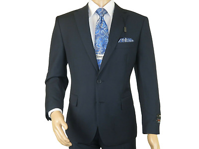 Men's Two Button Suit  ANGELO ROSSI Solid Classic Business Dressy 320 Navy Sale