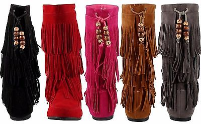 Latest Fashion Children's Girls Three Layer Fringe Moccasin Mid-Calf  Boot Shoes