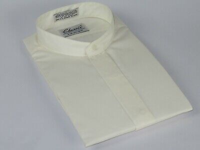 Men Formal pastor shirt CLASSIX Banded Collar less Hidden Button Front M08 Ivory