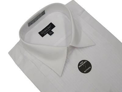 Men's Tuxedo shirt MILANI Laydown Collar Formal Pleated Front Wedding White NEW