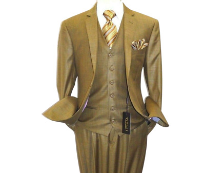Mens VITALI Three Piece Suit Vested Shiny Sharkskin M3090 Dijon Mustard New Sale