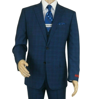 Mens RENOIR 3 Piece Vested Suit Glenn Plaid Notch Lapel Business 278-2 Navy Blue