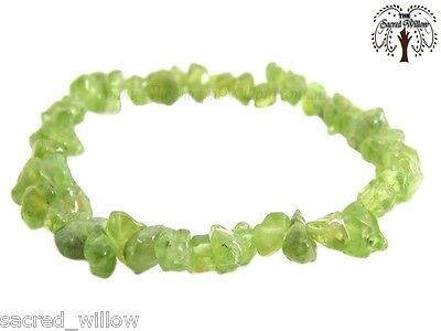 Peridot Gemstone Chip Stretch Bracelet Crystal Stone + Bag & Info Card