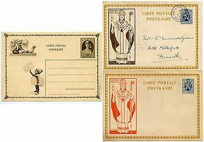 BELGIUM 1930s ILLUSTRATED STATIONERY CARDS...3 ITEMS