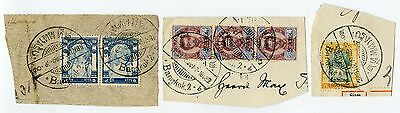 THAILAND SIAM 1908 POSTMARKS on PIECE 3 ITEMS DUAL LANGUAGE + DATE BANGKOK.2